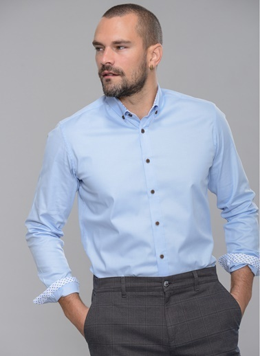 People By Fabrika Likralı Gömlek Mavi